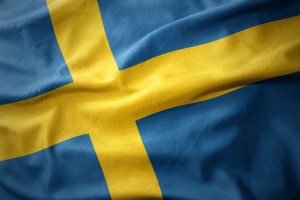 waving colorful flag of sweden.
